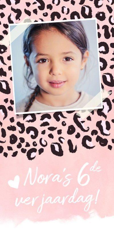 Kinderfeestjes - Trendy kinderfeest uitnodigingskaart met roze panterprint