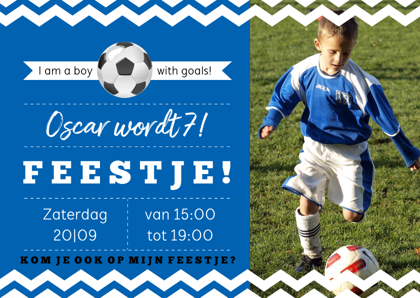 Kinderfeestjes - Uitndoging kinderfeestje voetbal blauwe kleur aanpasbaar