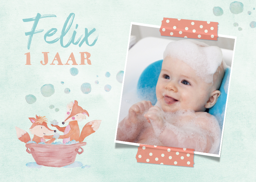Kinderfeestjes - Uitnodiging 1 jaar eigen foto vosjes in bad