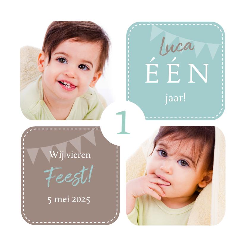 Kinderfeestjes - Uitnodiging 1 jaar jongen grafisch met foto's