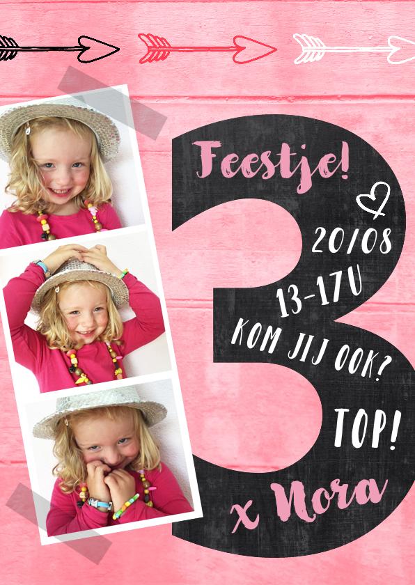 Kinderfeestjes - Uitnodiging 3 jaar schoolbord hout