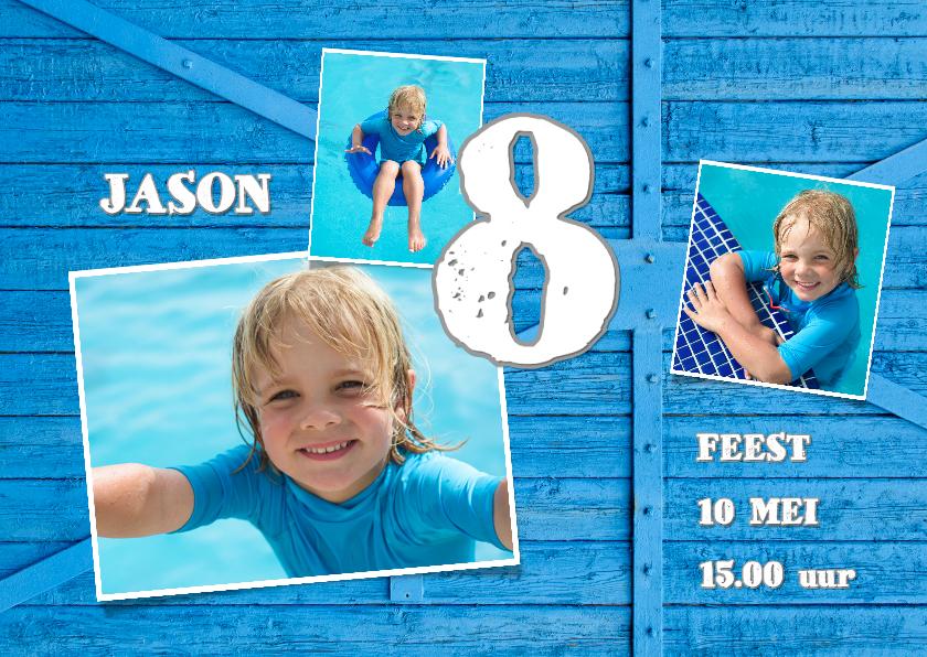 Kinderfeestjes - Uitnodiging blauw hout kind - OT