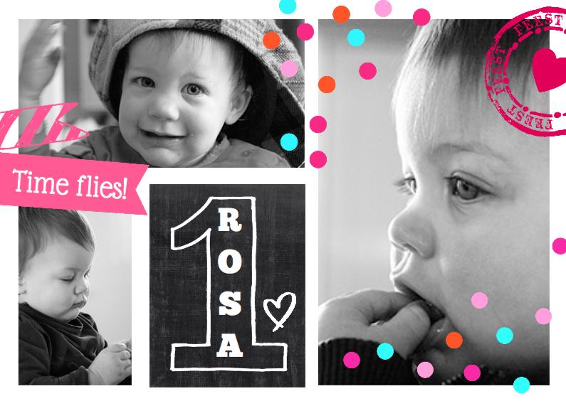 Kinderfeestjes - Uitnodiging Collage 1 jaar girl