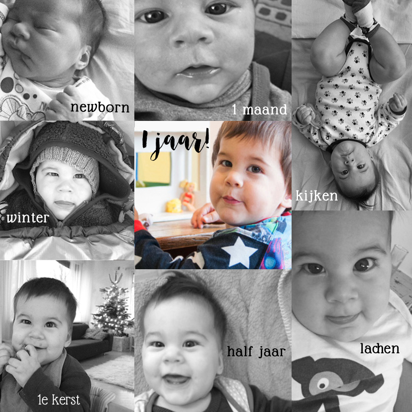 Kinderfeestjes - Uitnodiging collage verjaardag 1 jaar