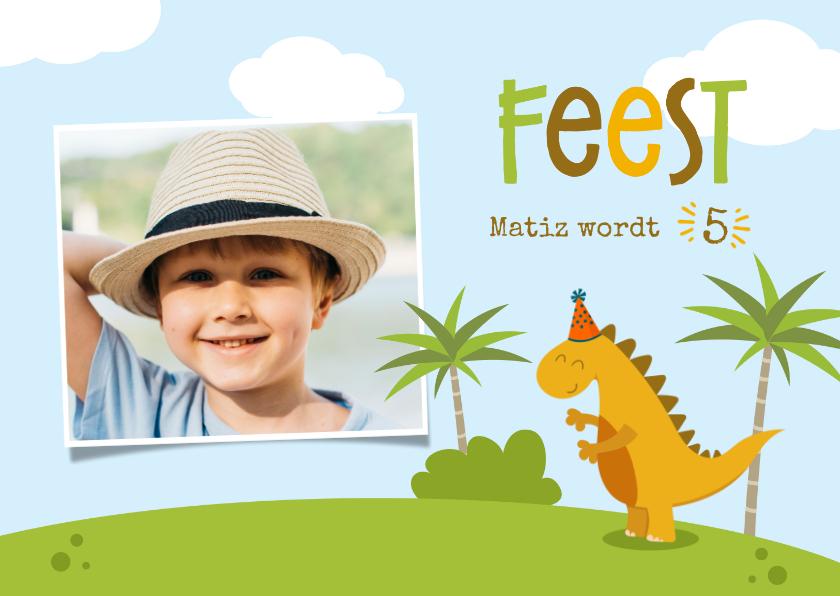 Kinderfeestjes - Uitnodiging Dino met palmbomen