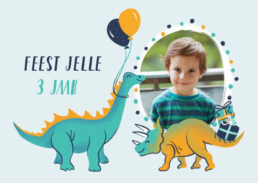 Kinderfeestjes - Uitnodiging dino's met ballonnen