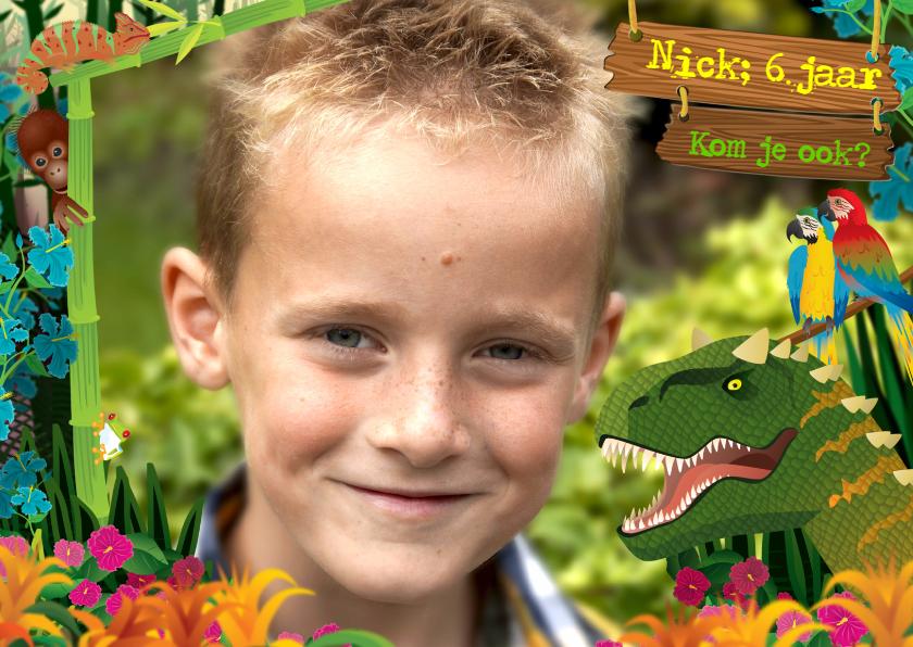 Kinderfeestjes - uitnodiging  dinosaurus jongen foto