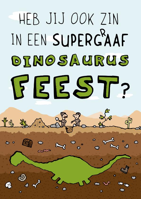 Kinderfeestjes - Uitnodiging Dinosaurus Kinderfeestje