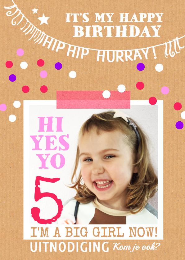Kinderfeestjes - Uitnodiging feest karton stip