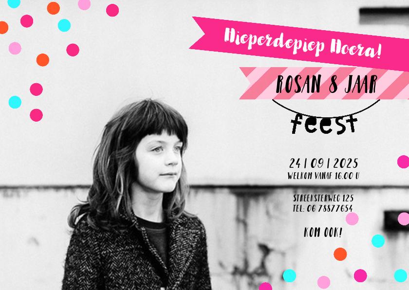 Kinderfeestjes - Uitnodiging feestje meisje roze