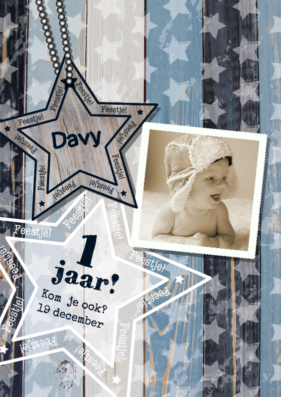 Kinderfeestjes - Uitnodiging foto blauw hout ster S