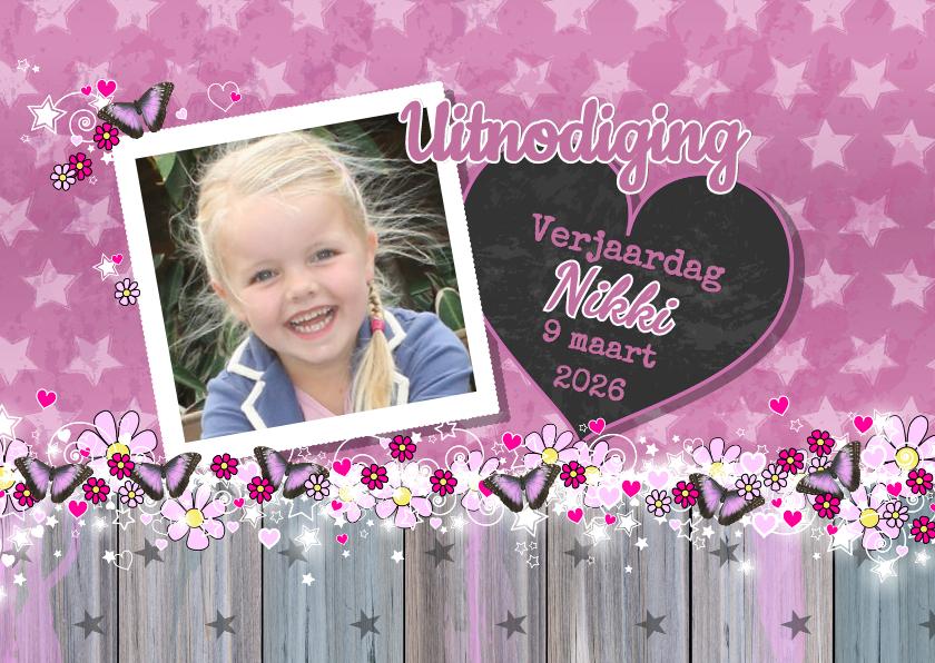 Kinderfeestjes - Uitnodiging foto Lief VLINDER