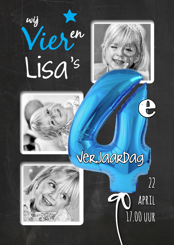 Kinderfeestjes - Uitnodiging kinderfeest 4e Verjaardag ballon blauw