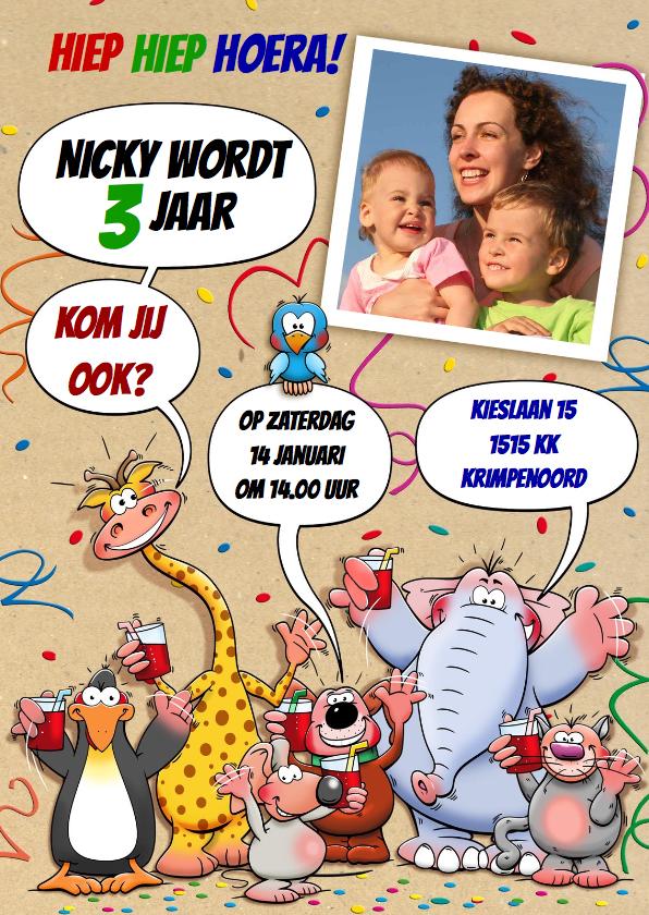 Kinderfeestjes - Uitnodiging Kinderfeest met grappige dieren voor een kind