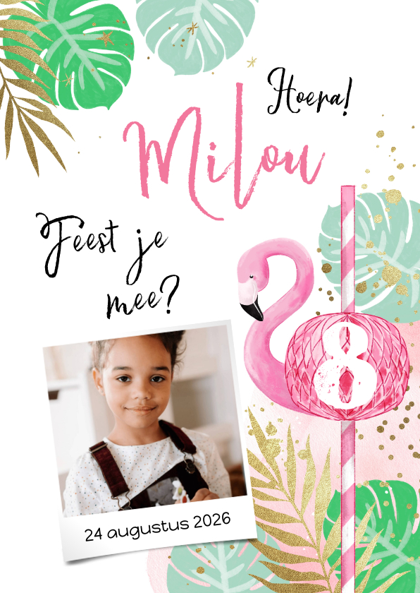 Kinderfeestjes - Uitnodiging kinderfeest tropical flamingo en goud