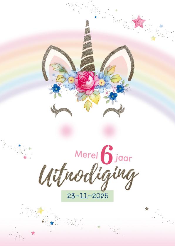Kinderfeestjes - Uitnodiging kinderfeest Unicorn ansichtkaart