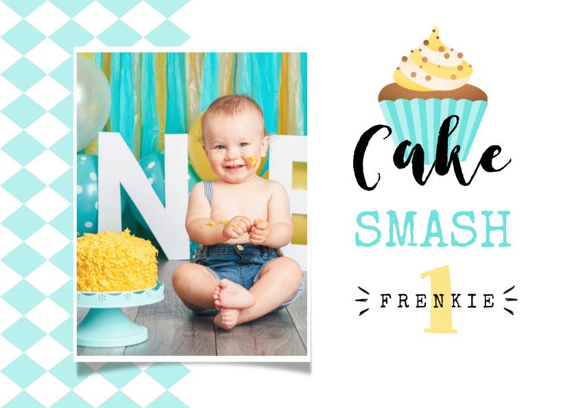 Kinderfeestjes - Uitnodiging kinderfeestje 1 jaar cake smash jongen cupcake