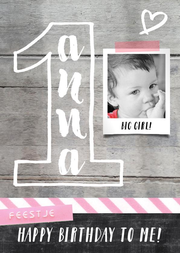 Kinderfeestjes - Uitnodiging kinderfeestje 1 jaar meisje hart