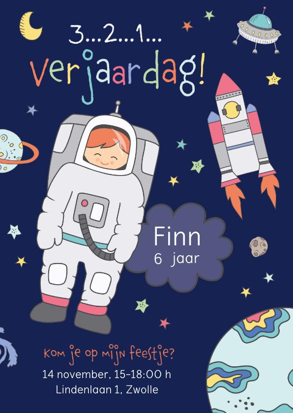 Kinderfeestjes - Uitnodiging kinderfeestje astronaut