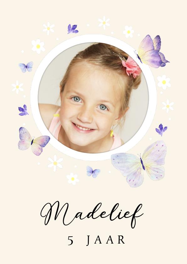 Kinderfeestjes - Uitnodiging kinderfeestje bloemetjes en vlinders