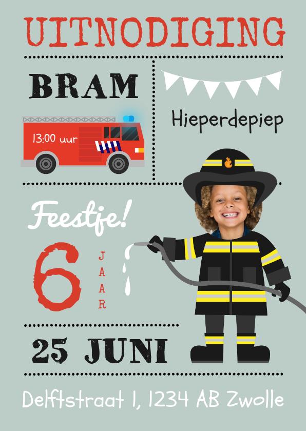 Kinderfeestjes - Uitnodiging kinderfeestje brandweer en brandweerauto thema