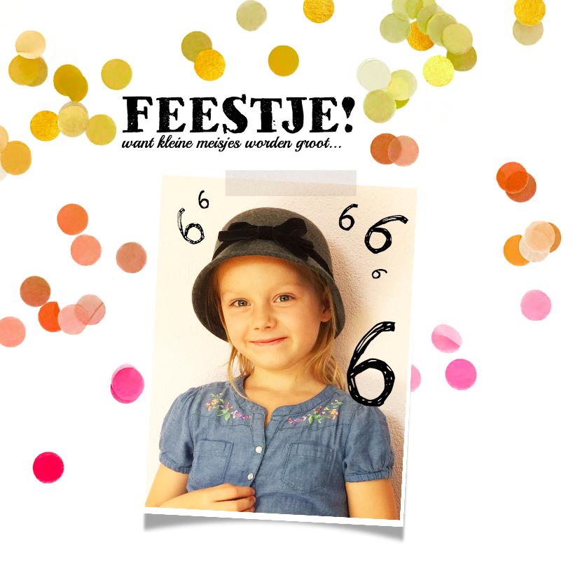 Kinderfeestjes - Uitnodiging kinderfeestje confetti foto