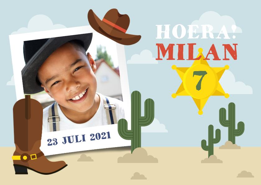 Kinderfeestjes - Uitnodiging kinderfeestje cowboyhoed, laars en sheriff ster