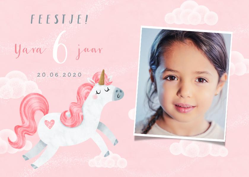 Kinderfeestjes - Uitnodiging kinderfeestje eenhoorn meisje wolkjes foto