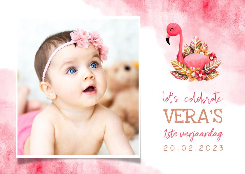 Kinderfeestjes - Uitnodiging kinderfeestje flamingo met foto en waterverf