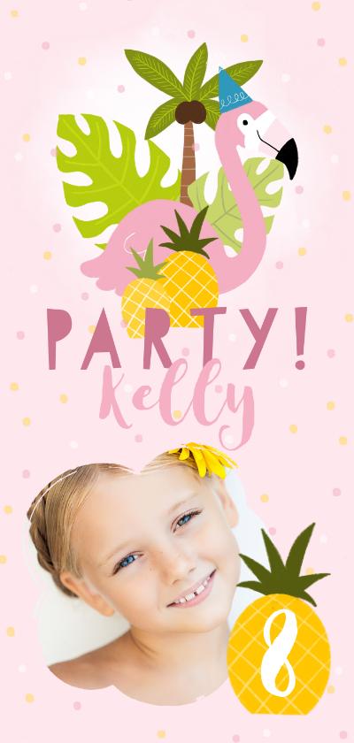 Kinderfeestjes - Uitnodiging kinderfeestje flamingo's, ananassen & confetti
