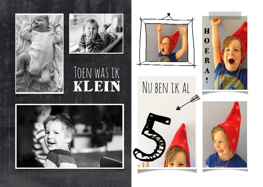 Kinderfeestjes - Uitnodiging kinderfeestje foto collage toen en nu