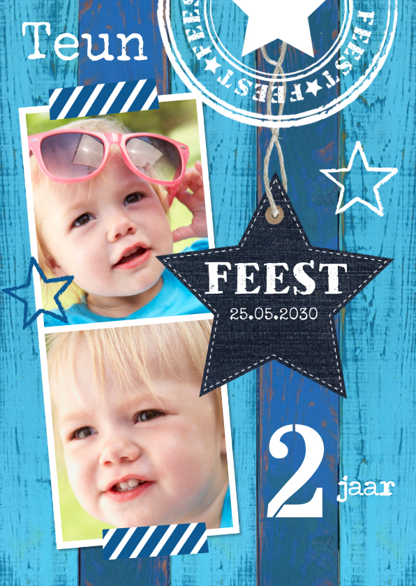 Kinderfeestjes - Uitnodiging kinderfeestje fotocollage hout blauw