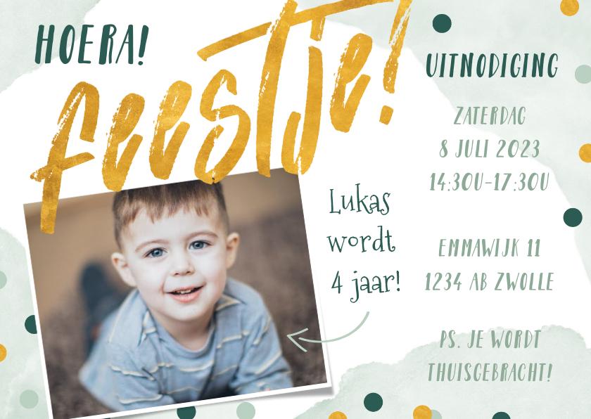 Kinderfeestjes - Uitnodiging kinderfeestje groen met confetti en waterverf