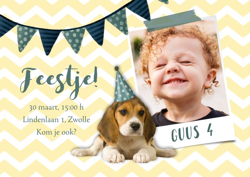 Kinderfeestjes - Uitnodiging kinderfeestje hondje met feesthoed