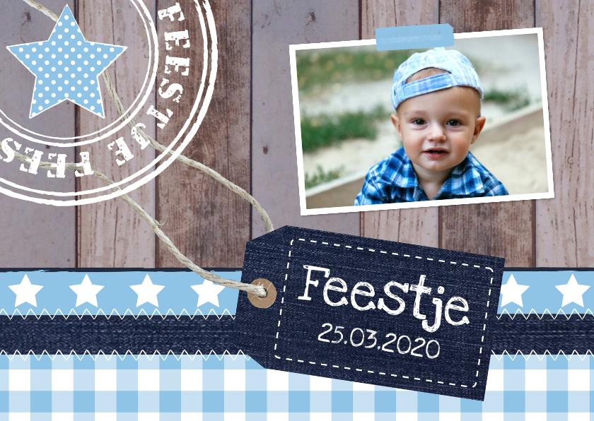 Kinderfeestjes - Uitnodiging kinderfeestje jongen label hout blauw