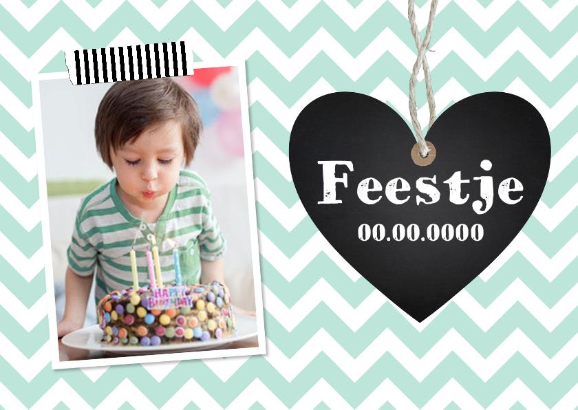 Kinderfeestjes - Uitnodiging kinderfeestje jongen mint hartje