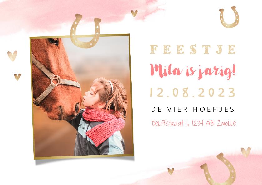 Kinderfeestjes - Uitnodiging kinderfeestje meisje paarden paardrijden foto