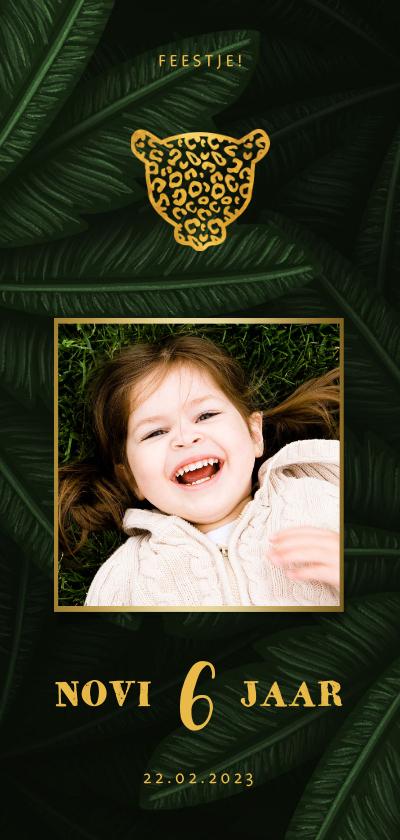 Kinderfeestjes - Uitnodiging kinderfeestje met foto en jungle bladeren
