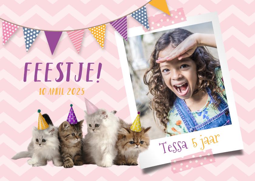 Kinderfeestjes - Uitnodiging kinderfeestje met foto en kittens