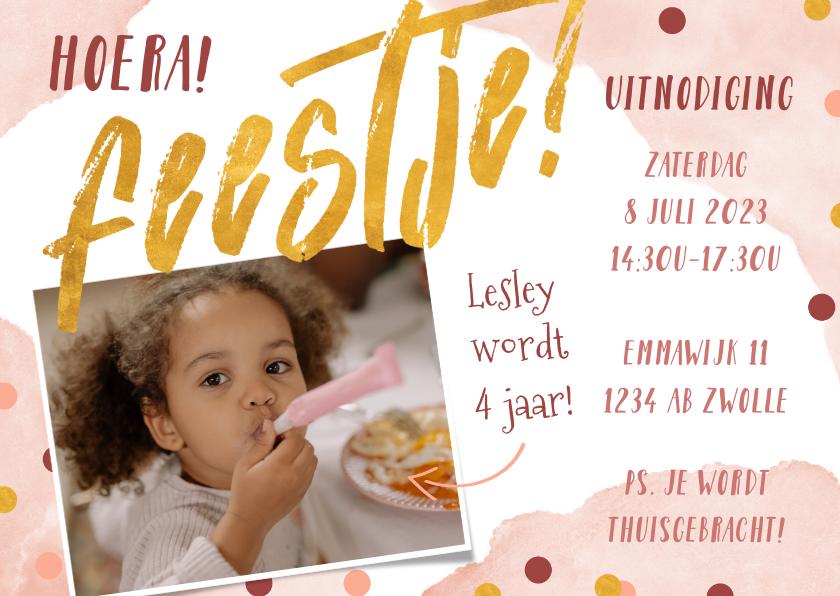 Kinderfeestjes - Uitnodiging kinderfeestje roze met waterverf en confetti