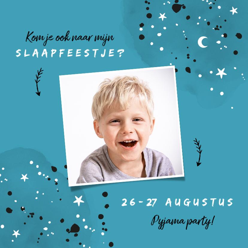 Kinderfeestjes - Uitnodiging kinderfeestje slaapfeestje voor een jongen
