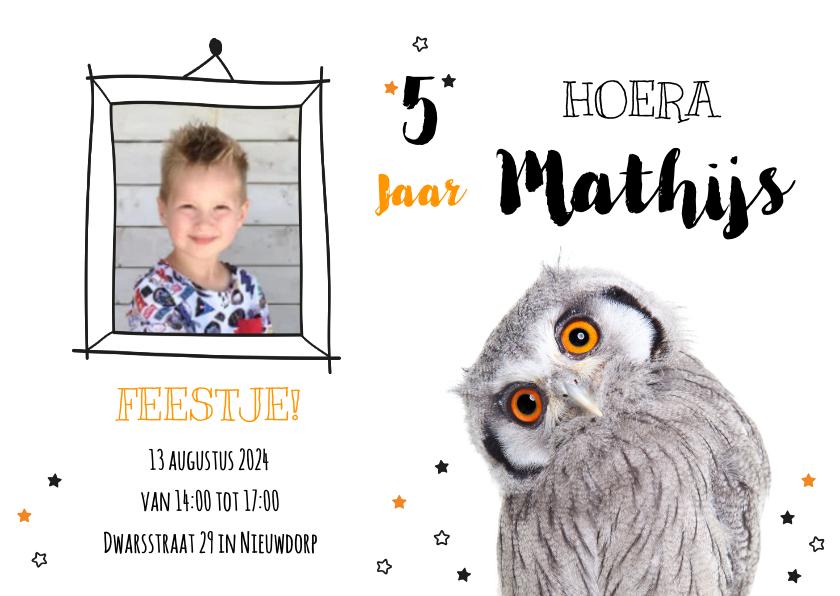 Kinderfeestjes - Uitnodiging - Kinderfeestje - Uiltje oranje ogen