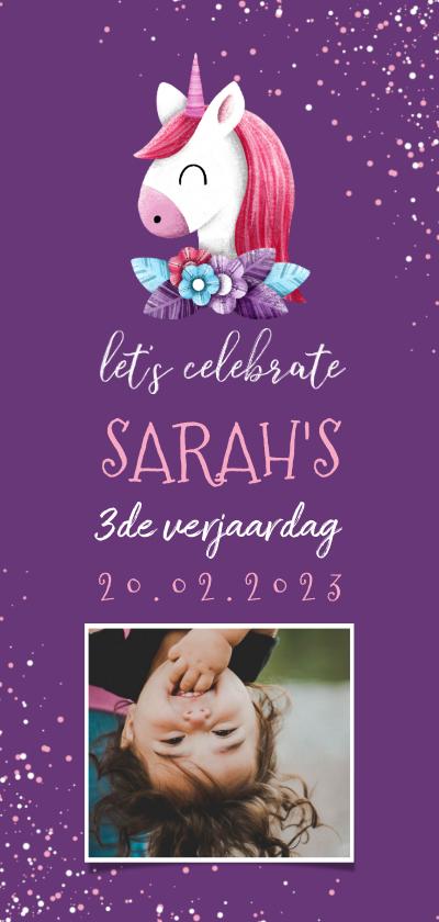 Kinderfeestjes - Uitnodiging kinderfeestje unicorn met confetti en foto