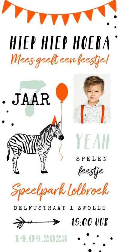 Kinderfeestjes - Uitnodiging kinderfeestje unisex zebra feestelijk
