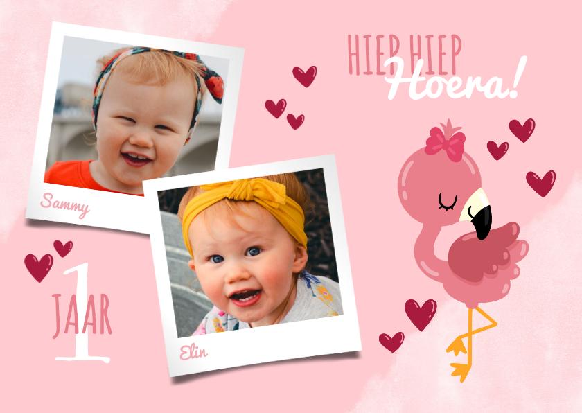 Kinderfeestjes - Uitnodiging kinderfeestje voor een tweeling met flamingo