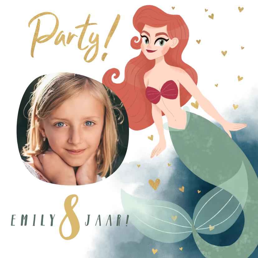 Kinderfeestjes - Uitnodiging kinderfeestje zeemeermin, waterverf en hartjes