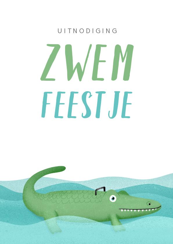 Kinderfeestjes - Uitnodiging kinderfeestje zwemmen krokodil