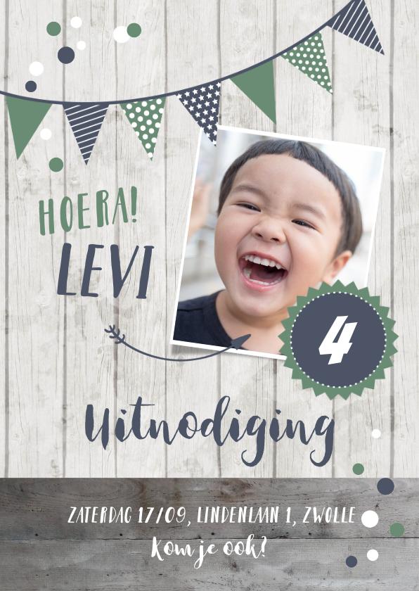 Kinderfeestjes - Uitnodiging kinderverjaardag blauw foto, slinger en confetti