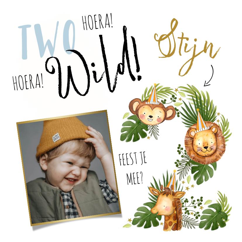 Kinderfeestjes - Uitnodiging kinderverjaardag met jungledieren en grote '2'