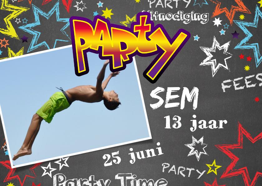 Kinderfeestjes - Uitnodiging kinderverjaardag stoer graffiti Party